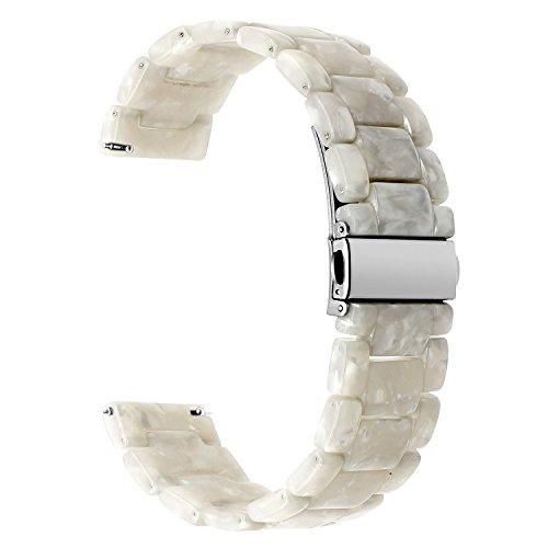for Samsung Galaxy Watch 42mm / Gear S2 Classic Watchband, TRUMiRR 20mm Quick Release Resin Watch Band Stainless Steel Buckle Strap Wrist Bracelet for Gear Sport, Garmin Vivoactive 3,