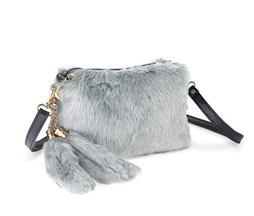 (Hoxis Faux Fur Furry Crossbody Shoulder Handbag Clutch Purse with Pom Tail Keychian)