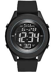 Skechers Mens Quartz Metal and Silicone Casual Watch, Color:Black (Model: SR5102)