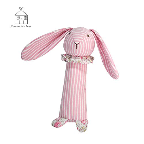 Shanghai Royal Lifestyle Co Blue BB Balm Manon des Pres Cute Baby Handbell Rattle Toy Bunny Rabbit Stuffed Animal for Kid Born Infant Boys Girls Toddler Bite Comfort Doll Animal Toy 6.9 Ltd