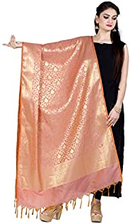 Chandrakala Women's Handwoven Cutwork Indian Ethnic Brocade Banarasi Dupatta Stole Scarf(D