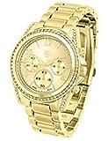 Daisy Fuentes Gold Watch – Premium Rhinestone Accented Designer Watches – Gold Plated Trendy Boyfriend - Analog