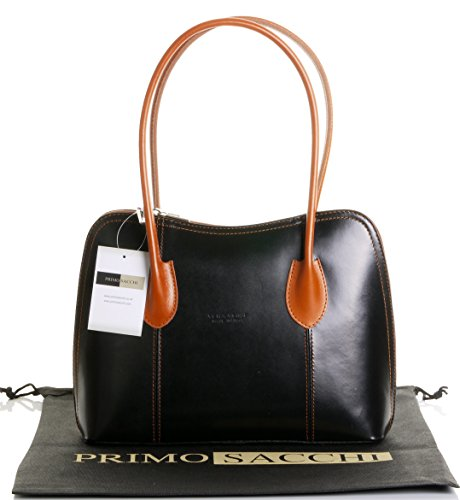 Primo Sacchi Italian Smooth Black with Leather Classic Long Handled Handbag Tote Grab Shoulder ()