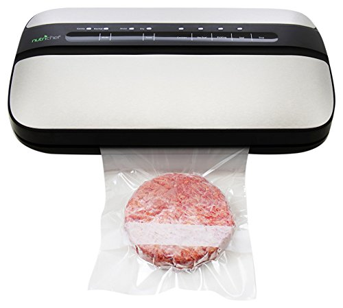 NutriChef Automatic Handheld Vacuum Sealer Machine - Simple & Compact Fresh Saver Meal - with Built-In Roll Storage & Cutter - Dry, Moist & Marinate Food Modes (Stainless Steel)