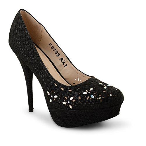 Tilly Shoes Plataforma Oculta Tacón bombas de boda novia zapatos fiesta Prom Tamaño Negro - negro