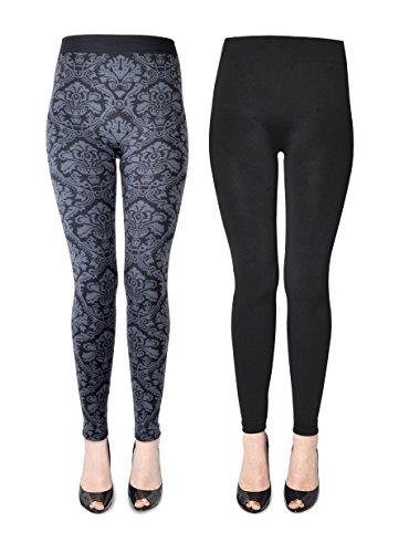 K. Bell Women's 2 Pack Soft and Warm Fleece Lined Leggings, Tapestry/Black, M/L