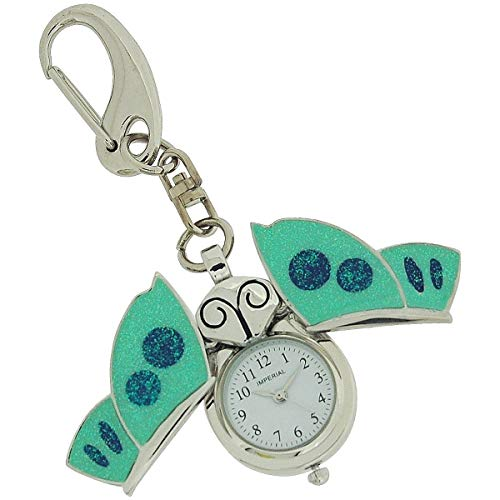 GTP Unisex Novelty Blue Enamel Butterfly Clock Keyring The Ideal Gift IMP746 ()