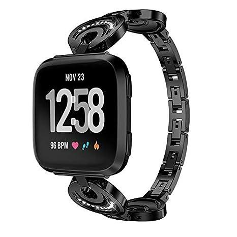 Dynamic Kaload Metal Smart Watch Reemplazo De La Banda De Mujeres Pulsera Correa para Fitbit Versa Reloj Inteligente - Negro: Amazon.es: Deportes y aire ...