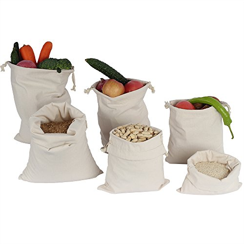 ATBAY Cotton Muslin Produce Bag Drawstring Storage Canvas Gr