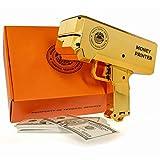 The Money Printer - Golden Money Gun with Trump Bank Notes - Shoot Prop Counterfeit Cash and Fake 100 Dollar Bills - Make It Rain Novelty Party Toy
