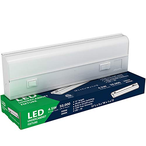LED Under Cabinet Lighting - 4.5 Watt, 12 Inch, 3000K or 4000K Switchable, Dimmable, CRI>90, Metal Hard Wired Light, 12in