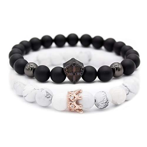 Crown Cross - Gemfeel 8mm Natural Black Onyx Stone & Howlite Cz Cross Shield/Crown Couple Bracelet Set,7.5