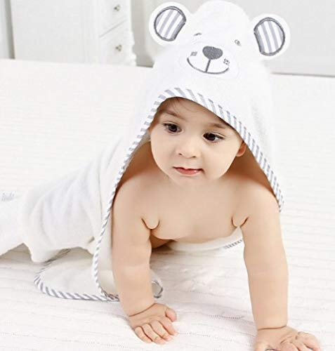 Luv and Hugs Brave Bear Hooded Baby Towel Washcloth Gift Set Large Size Organic Bamboo