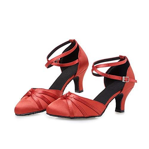 25 Altura Suave Zapatillas Material a Zapatillas 21 Baile Latino Adulto 8cm Satén 5cm de Mujer Rojo Tamaño de Hutt Baile Verano 0cm BOwxqSS