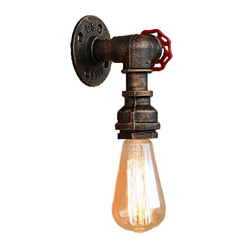 Newrays Steam Punk Retro Loft Industrial Iron Rust Water Pipe Wall Lamp Vintage E27 Sconce Lights For Restaurant Bar (Pipe Light)