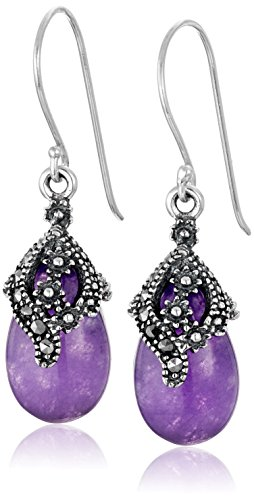 Sterling Silver Pear Shape Purple Quartz and Marcasite Drop Earrings