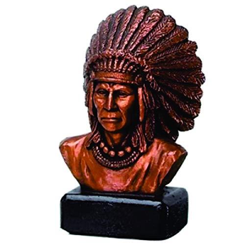Figura de Resina de Trofeo de Busto del Jefe Indio