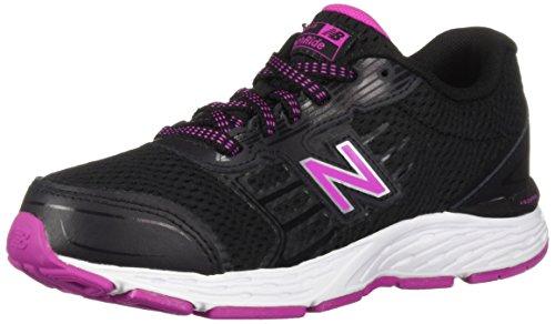 New Balance Girls' 680v5 Running Shoe, Black/Azalea, 13 XW US Little Kid