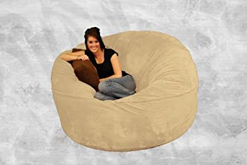 Giant Bean Bag Chair 6 Ft Comfy Sack   Camel Suede