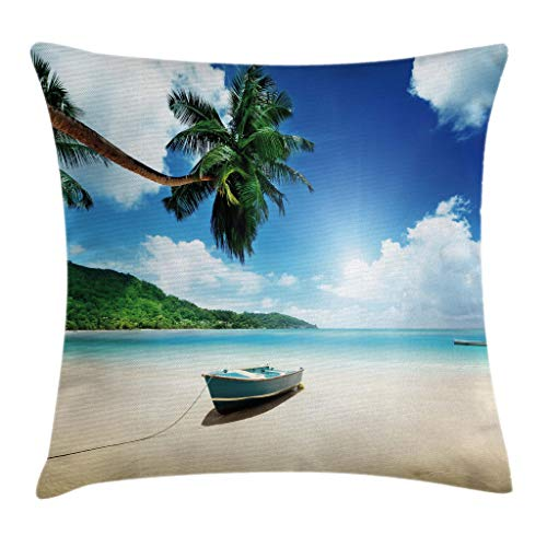 - Ambesonne Tropical Throw Pillow Cushion Cover, Wooden Boat Seychelles Beach with Palm Trees Paradise Ocean Scenery, Decorative Square Accent Pillow Case, 18 X 18 Inches, Beige Hunter Green Blue