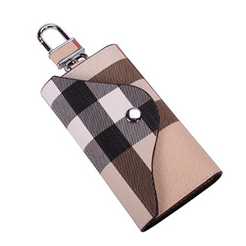 Mini Key Case Wallet Car Key Holder Wallet with 6 Hooks Portable Keychain Wallet Key Case Pouch (513 - Creamy (Six Hook Key Case)