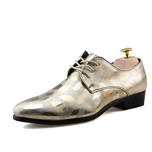 uomo Dimensione New Color 42 in Shoes Oxford Pelle rilievo Silver Uomo stile da Scarpe Gold EU Formal floreale Casual casual aRwIEE