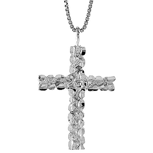 Sterling Silver Nugget Cross Pendant, 1 1/8 inch -