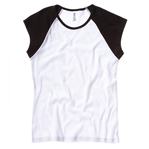 Bella+Canvas Baby rib cap sleeve contrast raglan t-shirt White / Black S