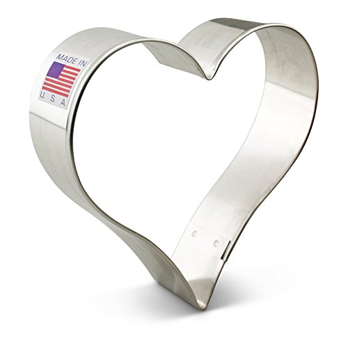 Heart Decorated Cookie (Ann Clark Heart Cookie Cutter - 3.8 Inches - Tin Plated Steel)