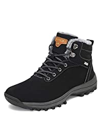 Mishansha Mens Womens Winter Ankle Snow Hiking Boots Warm Water Resistant Non Slip Fur Lined