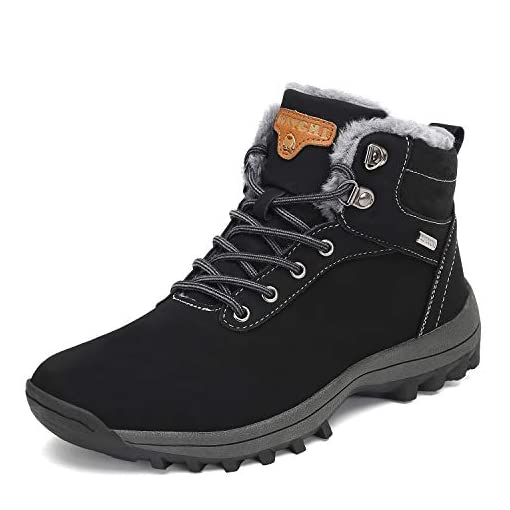 Mishansha Mens Womens Snow Boots Winter Warm Ankle Boots Fully Fur Lined Non-Slip Waterproof Shoes for Outdoor Walking Hiking Trekking