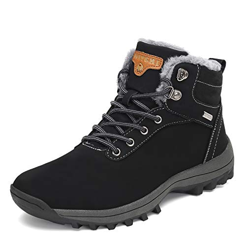 Mishansha Mens Womens Winter Warm Snow Boots Slip On Waterproof Outdoor Casual Walking Hiking Shoes Black 11.5 Women/10 Men