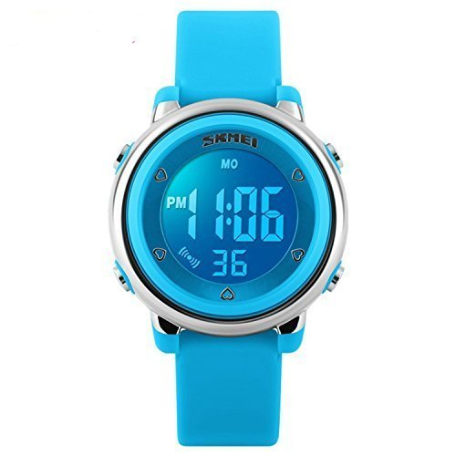 Fanmis Children Digital Display Silicone Band LED Screen Waterproof Blue Quartz Watch by Fanmis