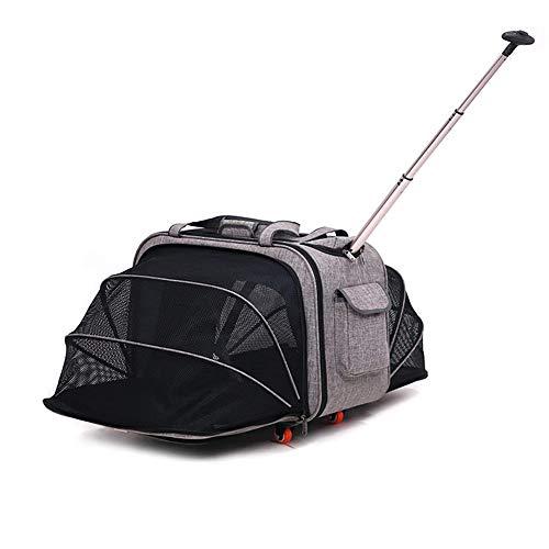 Xiao Mi Guo Ji- Pet Travel Bag, pet Trolley case, Luxury Portable Large Box, Folding, Expandable, 360° Rotating Wheel, Detachable Lever, Portable, Portable cat and Dog Travel Equipment