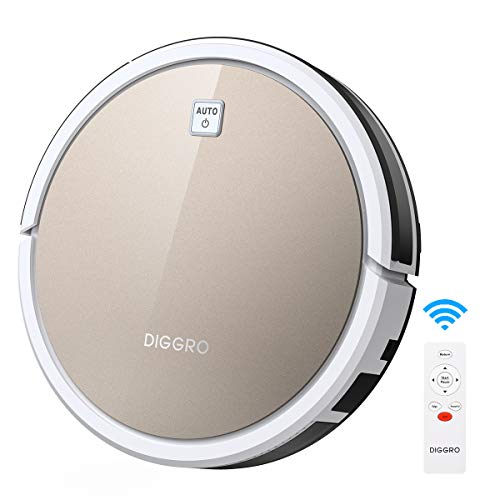 Diggro D600 Robotic Vacuum Cleaner,robovac with 1100Pa Strong Suction, Ultra Thin, Automatic Self-Charging for Cleaning Hardwood Floors to Medium-Pile Carpets, Filter for Pet, Easy Schedule Cleaning