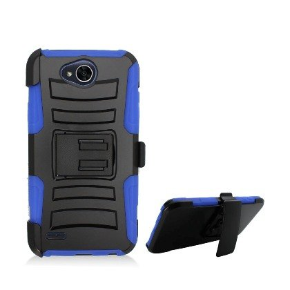 LG X Power 2 Case, LG LV7 Case, Allmet [Blue] Premium Durable Rugged Impact Hybrid Armor Holster Belt Clip Stand Combo Case Cover for LG X Power 2 / LV7 2017