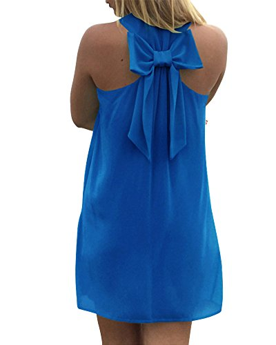 Mujeres Vestido de Verano Casual Mini Vestido de Fiesta Noche Oscuro Azul