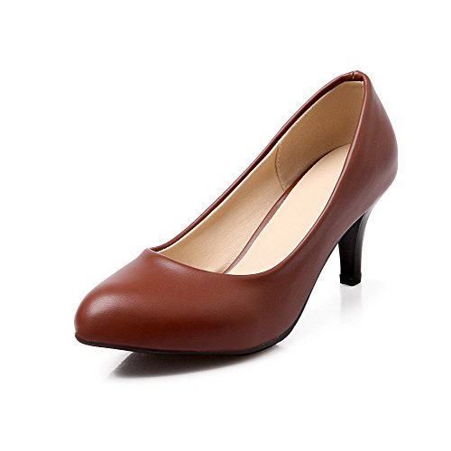 VogueZone009 Women's Pull-on Kitten-Heels PU Solid Pointed Closed Toe Pumps-Shoes, Brown, 37 by VogueZone009
