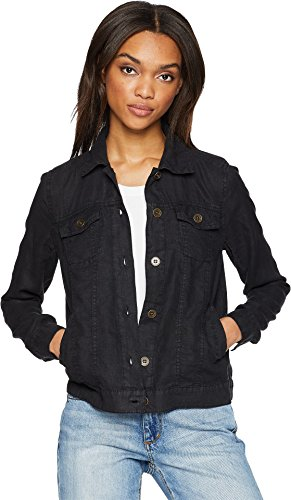 Michael Stars Women's Woven Linen Jean Jacket Black (Woven Long Sleeves Jacket)