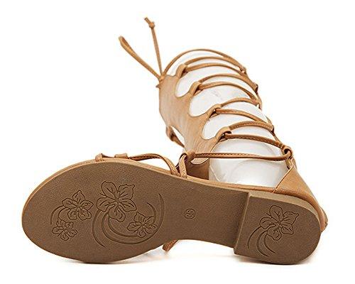 Romain Hauteur Gladiateur Femmes Qitun Lacets Sandale Plat Spartiate Genou Sandale Sandales Bottes at6Oxn0xqw