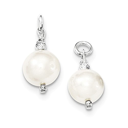 Hoop Earring Enhancers - Sterling Silver Freshwater Cultured Pearl and Bead Hoop Earring Enhancers