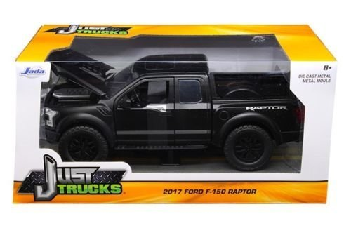 Jada 97756 2017 Ford F-150 Raptor Pickup Truck Matt Black 1/24 Diecast Model Car