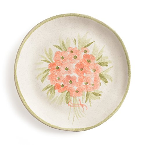 Fiori Salad - Italian Dinnerware - Handmade in Italy from our Mazzo Di Fiori Collection - Salad Plate with Pink Flowers