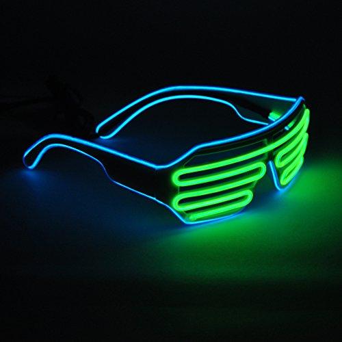 Generic EL Wire Glasses LED Rave Sunglasses Light Up Glowing Flashing Party(Blue+Lemon - Neon Customized Sunglasses