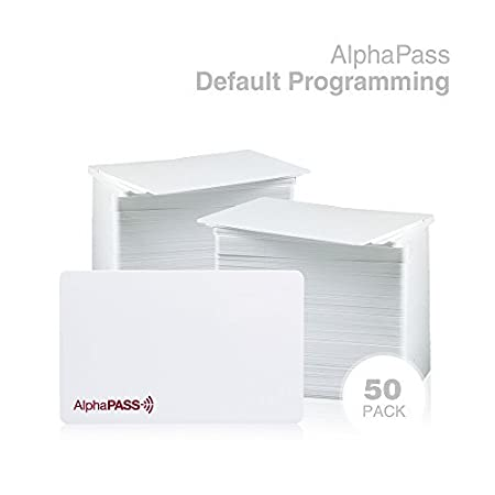 AlphaPass PVC Proximity Card for Access Control. Replaces HID 1386 ISOProx II Card. Standard 26 bit H10301 Format. (50 Pack, Default Programming) Alphacard US PP-APROX-PVC-50