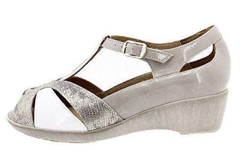 Calzado mujer confort de piel Piesanto 8160 zapato puntera descubierta plantilla extraíble cómodo ancho Gris
