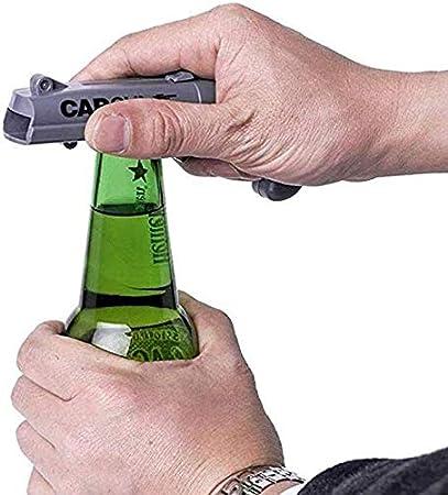 YFOX - Juego de 2 cañones de lanzamiento para Creative Open Cap, Open Beer Drink Cap Opener, para celebraciones familiares, bares, juegos, rojo y gris con un alcance de más de 5 metros