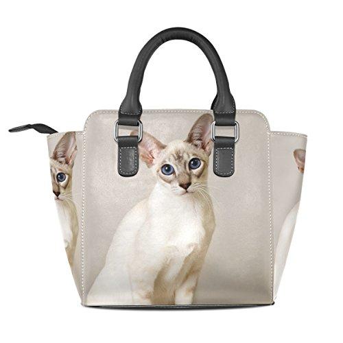 Tote Leather Bags TIZORAX Custom Cat Balinese Cute Shoulder Handbags Women's xnggqOYwH