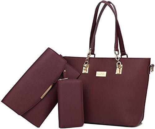 Women Tote Handbag + Envelopes + Wallet 3 Piece Set Bag Shoulder Bag for Work - Work Set