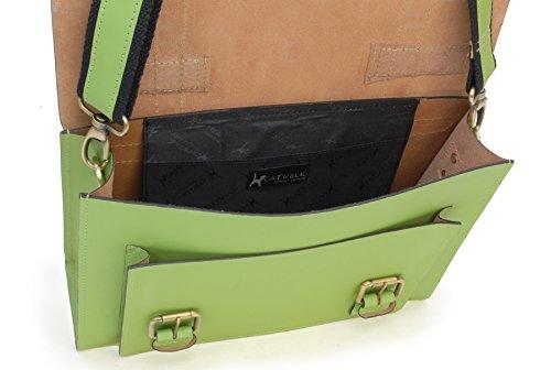 Catwalk Collection Große Umhängetasche Canterbury - Leder Grün d5C9lcd